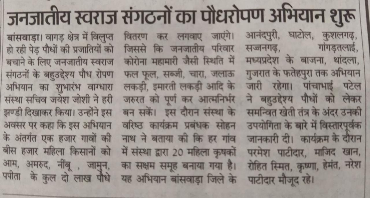 Multi-purpose-Planting Campaign-Vaagdhara-Banswara-News-1
